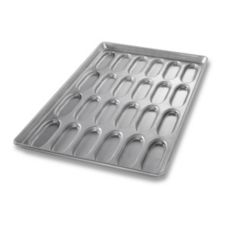 Chicago Metallic Bakeware Glazed Hot Dog  Bun Pan / Cluster of 24