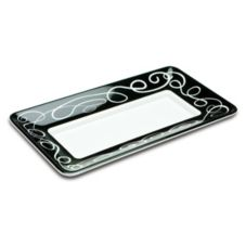 "Delfin TRC-158SO-020 15"" x 8"" White Rectangular Sorrento Tray"