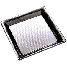 "American Metalcraft HMSQ20 20"" Square Hammered S/S Tray"
