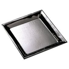 "American Metalcraft HMSQ16 16"" Square Hammered S/S Tray"