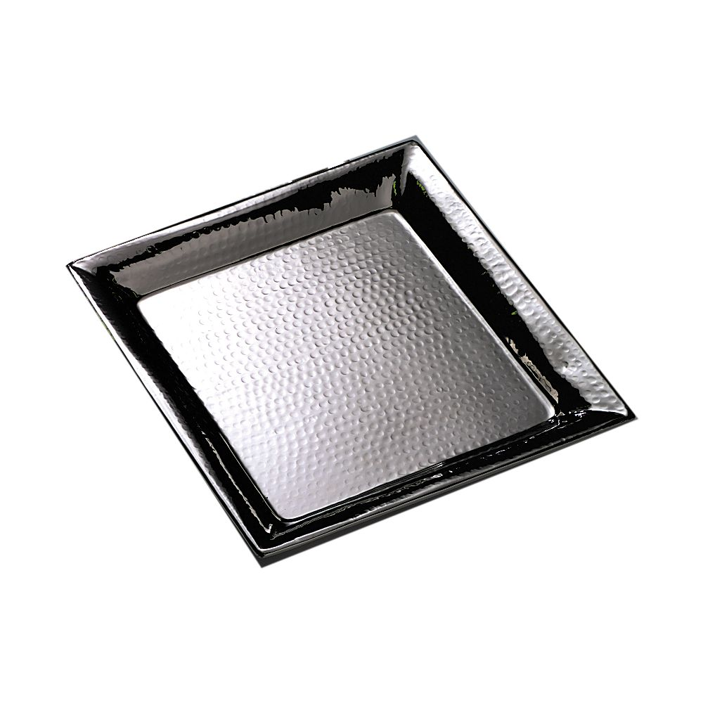 """American Metalcraft HMSQ16 16"""" Square Hammered S/S Tray"""