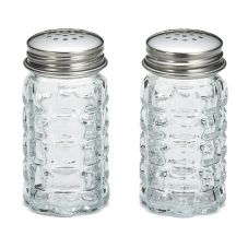 Tablecraft Nostalgia Glass Salt and Pepper Shakers with S/S Tops