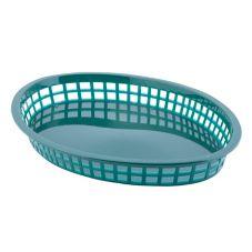 TableCraft® 1086FG Forest Green Oval Texas Platter Basket - Dozen