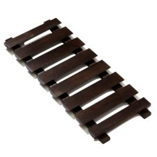 "American Metalcraft 14"" X 35"" Walnut Hanging Glass Rack"