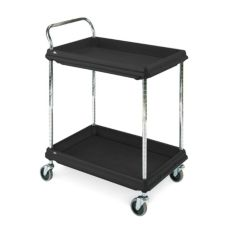 "Metro BC2636-2DBL BC Series Black 27 x 38"" Deep 2-Shelf Utility Cart"
