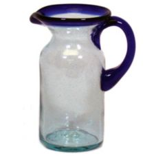 Jacaman Glass 18 Oz. Cobalt Blue Rim Mini Pitcher
