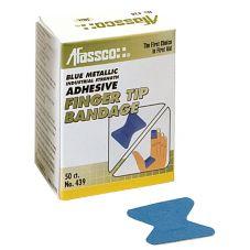 Afassco® 1439 Blue Metallic Fingertip Bandage - 50 / BX