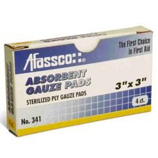 "Afassco 341 Individually Wrapped 3"" Square Sterile Gauze Pads - 4 / BX"