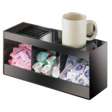 Cal-Mil® 672 Black Dual Airpot Drip Tray Unit with Condiment Bins