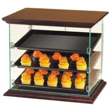 Cal-Mil® Clear Woodland 3-Tray Display Case w/ Dark Wood Top and Bottom