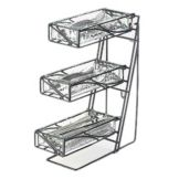 Cal-Mil® 3-Tier Wire Silverware Holder w/ 3 Faux Glass Bins
