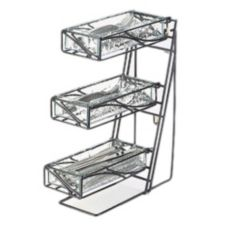 Cal-Mil® 1235 3-Tier Wire Silverware Holder with 3 Faux Glass Bins