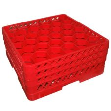 Traex TR12HHH-02 Red 30 Compartment Glass Rack w/ 3 Hexagon Extenders