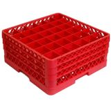Traex® TR7CCC-02 Red 36 Compartment Glass Rack with 3 Extenders