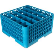 Carlisle® OptiClean 25 Compartment Glass Rack w/ 4 Extenders, Blue