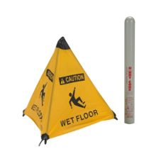 "ARP 17176I Yellow 18"" Wet Floor Cone with Tube"