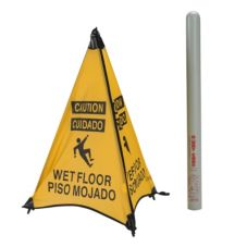 "ARP 31014D Yellow English / Spanish 31"" Wet Floor Cone with Tube"