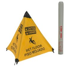 "ARP 17194I Yellow English / Spanish 18"" Wet Floor Cone with Tube"