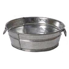 "Galvanized Tin Large Mini Washtub, 3"" x 8-1/2"""