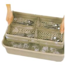 Vollrath 1394 Traex® Beige 4 Compartment Half Tub Rack