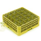 Traex® TR6BBB-08 Yellow 25 Compartment Glass Rack with 3 Extenders