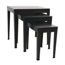 FMS NT3S-P Set Of 3 Black Square Nesting Tables