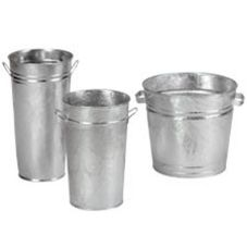 "Floral Merchandising Systems GV12-12 11-1/2"" Galvanized Vase"