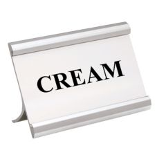 "Matte Silver 3.5 x 2 ""CREAM"" Coffee Break Metal Sign"