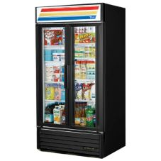 True® Black Glass Door Refrigerator Merchandiser, 33 Cubic Ft