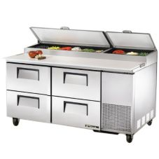"True® S/S 4-Drawer 20.6 CF Pizza Prep Table w/ 5"" Casters"