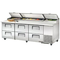 "True® S/S 6-Drawer 30.9 Cu Ft Pizza Prep Table w/ 5"" Casters"