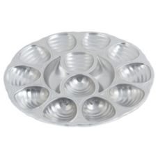 "Bon Chef 5022 PEWTER Aluminum 12-Hole 11.25"" Oyster Dish - 6 / CS"
