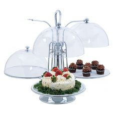 Oneida 2450 Chrome Revolving Centerpiece with (3) Plates and Lids