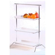 Buffet Euro RW303C Chrome Tri-Level Stand with Bamboo Cutting Boards