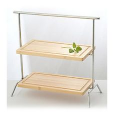 Culinaire IR-606CSETBC Rect. Chrome 2-Tier Riser w/ Wood Cutting Board