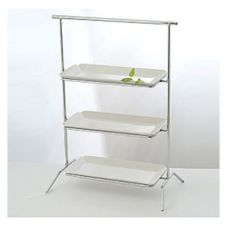 Culinaire IR-607CSC Rectangular Chrome 3-Tier Riser w/ China Platters