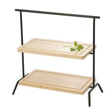 Culinaire IR602BSETBCB Black Rect. 2-Tier Riser w/ Wood Cutting Board