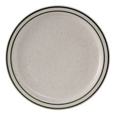 """Tuxton TES-008 Emerald 9"""" Eggshell Plate With Green Bands - 24 / CS"""