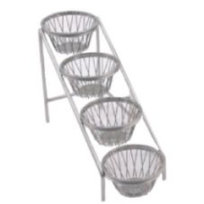 Dover Metals D-6054RNB Nickel 4-Tier Amenity Stand With 6 Baskets