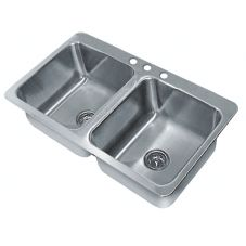 Advance Tabco SS-2-4521-12 S/S 45-1/2 x 21 Double Bowl Drop-In Sink