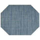 "Front Of The House 11""x14"" Indigo Basketweave Octagon Placemat"