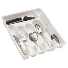 Rubbermaid® FG2925RDWHT Large Plastic 6-Compartment Cutlery Tray