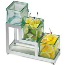 Cal-Mil 1803-4-49 Chrome Square Stair-Step Frame w/ 3 Green Glass Jars