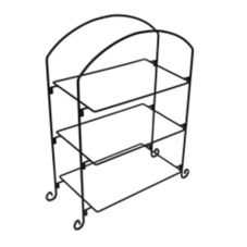 American Metalcraft IS13 Ironworks Black 3-Tier Iron Platter Stand