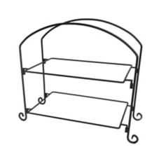 American Metalcraft IS12 Ironworks Blk 2-Tier Iron Rectangular Stand