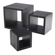 American Metalcraft Black Wooden Square 3-Piece Riser Set