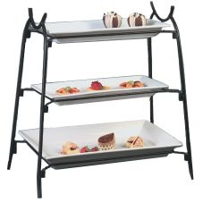 American Metalcraft IS14 Ironworks Black 3-Tier Iron Rectangular Stand