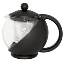Service Ideas Black Glass Lined Plastic Tea Ball w/ Removable Basket