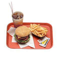 "Cambro® 1014FF163 Red 10"" x 14"" Fast Food Tray"