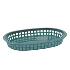 TableCraft 1076FG Forest Green Oval Chicago Platter Basket - Dozen